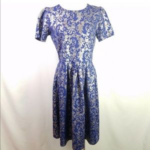 NWT Lularoe Elegant Amelia Dress Blue Silver 2XL